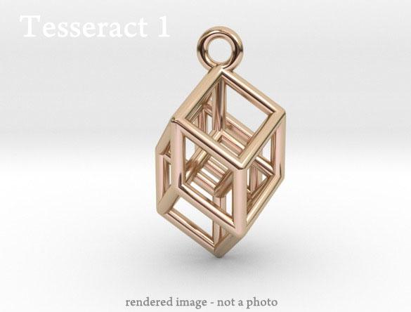 tesseract hypercube jewelry pendant